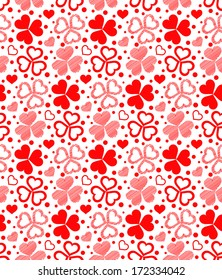 Vector illustration - floral seamless of red hearts. The sample of seamless texture is in Swatches panel.