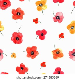 Vector illustration of floral seamless. Red and yellow isolated poppies on a white background, drawing watercolor.
