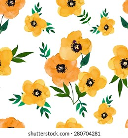 Vector illustration of floral seamless.Yellow group and isolated poppies on a white background, drawing watercolor.