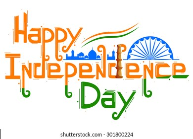 vector illustration of floral swirl in Indian tricolor flag for Happy Independence Day