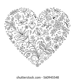Vector illustration of floral valentines heart isolated on white background.Coloring page for children and adult.