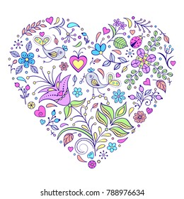 Vector illustration of floral valentines heart on white background.