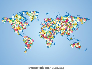 Globalizing world map people made flags stock photo 87200113 vector illustration of floral wolrd map gumiabroncs Gallery