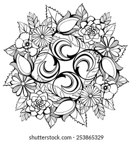 Vector  illustration with a floral wreath