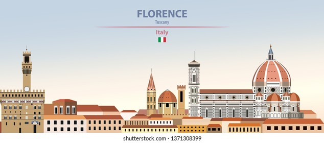 Vektorgrafik von Florenz City Skyline auf buntem Farbverlauf-schönem Himmelshintergrund mit Flagge Italiens