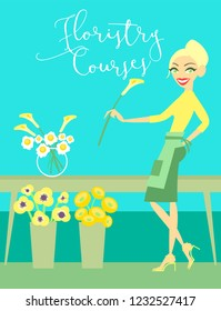 Vector illustration floristry courses template