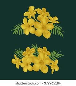 Vector Illustration of flower bunch set( Allamanda, Common allamanda, Golden trumpet, Golden trumpet vine, Yellow bell )