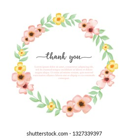 vector illustration flower frame background in watercolor style