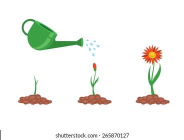 Vector illustration of flower growing