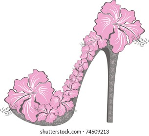 33a28dc2b7c9 Vector illustration of flower high heel. Shoes decorated with hibiscus