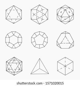 Vector illustration flower of life sacred geometry ancient symbol Set of geometric shapes.