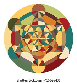vector illustration / flower of life / sacred geometry / ancient symbol