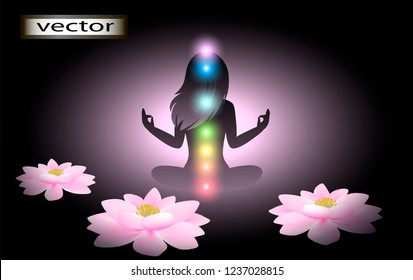 Vector illustration of flower Lotus posture of yoga, the disclosure of illumination of the chakras of a healthy body the female energy