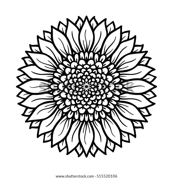 Vector Illustration Flower Mandala Coloring Page Stock Vector Royalty Free 515520106