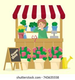 Vector illustration of a flower shop.