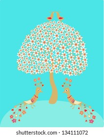 Vector illustration with flowering spring tree and decorative golden birds on turquoise background