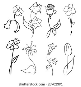 Vector illustration of flowers Design Set made with simple line only