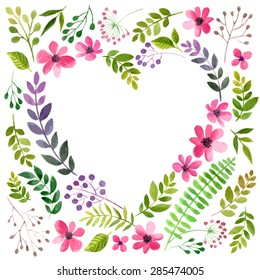 Vector illustration of flowers frame. Colorful floral heart, drawing watercolor. Calligraphic design for Valentine's Day or weddings. Spring or summer design for invitation and greeting cards