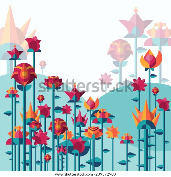 Vector illustration of flowers and landscape