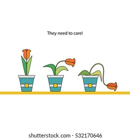 Vector Illustration of Flowers in a pots with text: They need to care! Made in a flat stile. Used for printing card, banner or web design.