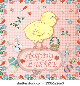 vector illustration, flowers, rabbits, egg, in childrens style on the theme of Easter, the layout of greeting cards