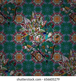 Vector illustration of flowers. Seamless pattern with flowers on motley background.