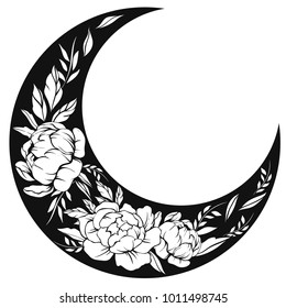 Vector illustration of flowers in the shape of the moon. Black and white moon illustration isolated on white background