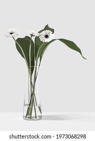Vector illustration of flowers in a vase. White flowers in a glass vase on a light background.