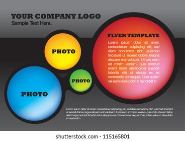 Vector illustration of flyer design layout template of circles.