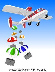 vector illustration of flying airplane and cargo on parachutes