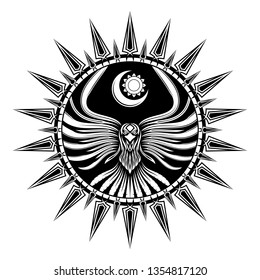 Vector illustration flying bird. Stylized drawing of the moon and sun. Sacred raven. Black Scandinavian tribal tattoo. Norman grunge style. Gothic symbol. Illustrations for t shirt print. Totem.