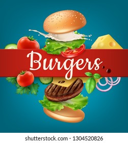 Vector illustration flying burger, ads exploded hamburger with refreshing ingredients: lettuce, onion, patty, tomato, cheese, cucumber, sauce and bun with sesame on background and space for text