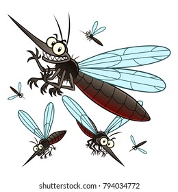 Vector illustration of flying cartoon mosquitoes.