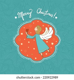 Vector illustration with flying Christmas angel holding heart in her hands. It can be used for card, postcard, poster, invitation, wallpaper, textile design, fabric design, cover, banner, sticker.
