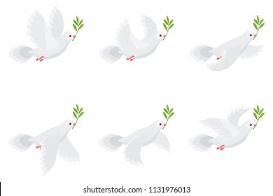 Vector illustration of flying dove holding olive branch. Sprite sheet isolated on white background. Can be used for GIF animation