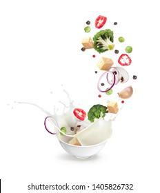 vector illustration flying food splash in a plate