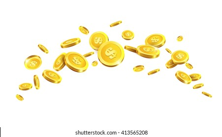 Vector Illustration of flying golden coins. Golden coins. Gold money.