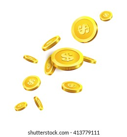 Vector Illustration of flying golden coins. Isolated on white.