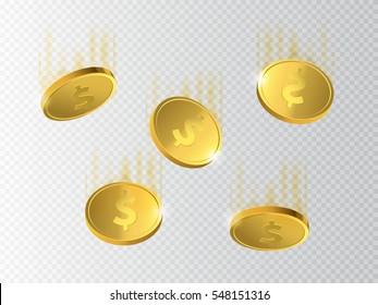 Vector Illustration of flying golden coins. Money falling down