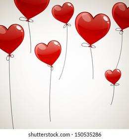 Vector Illustration of Flying Heart Balloons