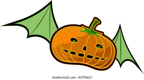 A vector illustration of a flying Pumpkin. Can be recolored or scaled without problems and quality loss