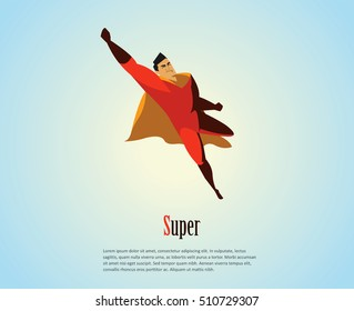 Vector illustration of flying superhero, business power icon, red costume with orange cape, Super Hero cartoon man character