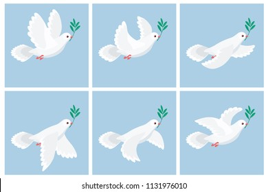 Vector illustration of flying white dove holding olive branch. Sprite sheet with blue frames. Can be used for GIF animation