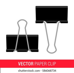 Vector illustration fo black metallic paper clips, isolated on a white background.