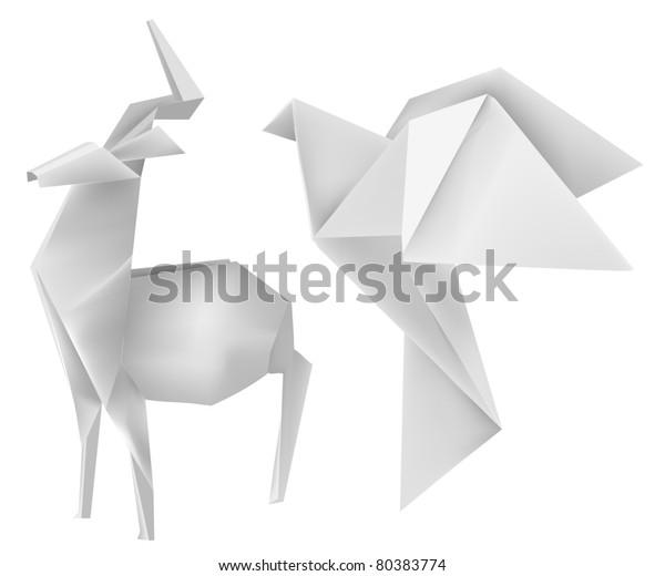 Vector illustration of folded paper models deer and dove.
