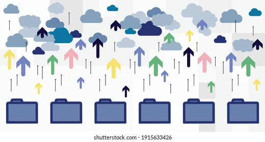vector illustration of folders for digital order queue and uploading file to cloud storage