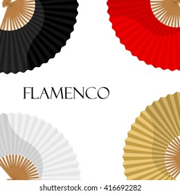 Vector illustration folding fan background, wallpaper, card with white, golden, black and red hand fan. Flamenco dance