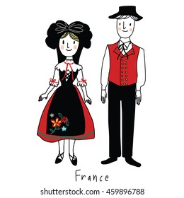 vector illustration- folk costume of Alsace region, France called Alsatian costume. Woman wears a headdress, skirt, apron, blouse,flat-heeled shoes. Man wears black pants, waistcoat with many buttons.