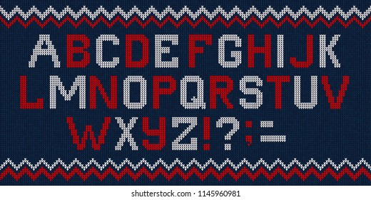 Vector illustration folk latin Christmas Font Scandinavian style knitted letters alphabet and pattern. Seamless background Nordic fair isle knitting, winter holiday sweater design.