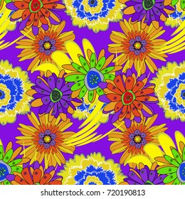 Vector illustration. Folkloric ethnic orange, yellow and violet embroidery floral seamless pattern. A line of neck, bags, textiles for your design.